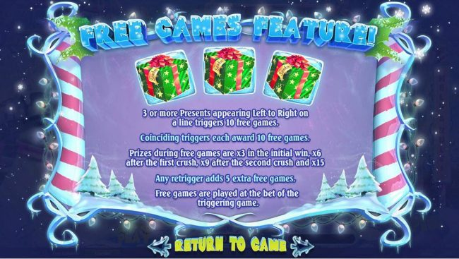 Free Games feature - 3 or more presents appearing left to right on a line triggers 10 free games. Coinciding triggers each award 10 free games.
