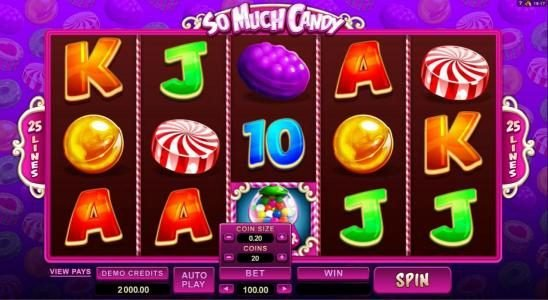 Play slots at Scatters: Scatters featuring the Video Slots So Much Candy with a maximum payout of $56,000
