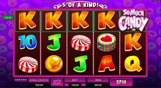 Platinum Play featuring the Video Slots So Much Candy with a maximum payout of $56,000