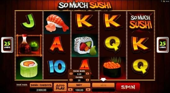 Money Reels featuring the Video Slots So Much Sushi with a maximum payout of $56,000