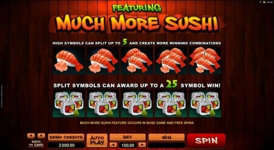 Mr Play featuring the Video Slots So Much Sushi with a maximum payout of $56,000