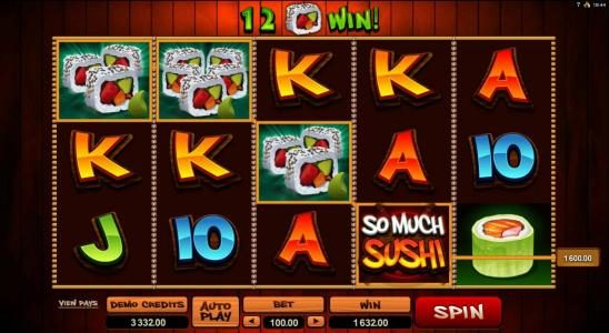 Jackpot Knights featuring the Video Slots So Much Sushi with a maximum payout of $56,000