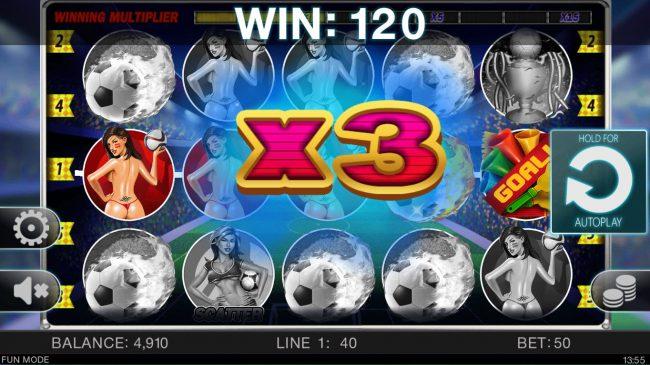 Soccer Babes :: An x3 win multiplier awarded