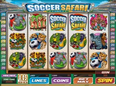 Vegas Winner featuring the Video Slots Soccer Safari with a maximum payout of $8,000