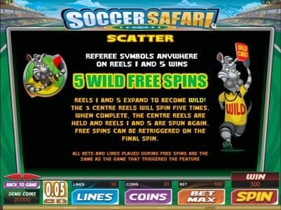 Quatro featuring the Video Slots Soccer Safari with a maximum payout of $8,000