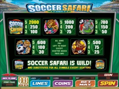 Play slots at 18 Bet: 18 Bet featuring the Video Slots Soccer Safari with a maximum payout of $8,000