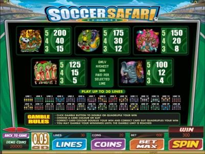 Spin Hill featuring the Video Slots Soccer Safari with a maximum payout of $8,000
