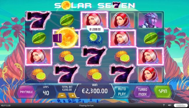 Betfred featuring the Video Slots Solar Seven with a maximum payout of $400,000