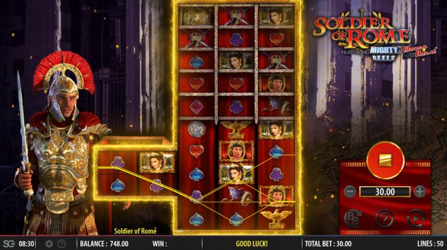 Play slots at All Irish: All Irish featuring the Video Slots Soldier of Rome Mighty Reels with a maximum payout of $250,000
