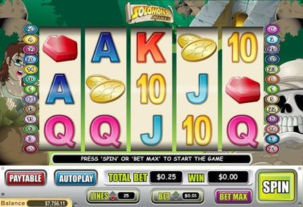 Intertops Classic featuring the Video Slots Solomons Mines with a maximum payout of $40,000
