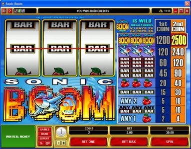 Crystal featuring the Video Slots Sonic Boom with a maximum payout of $25,000