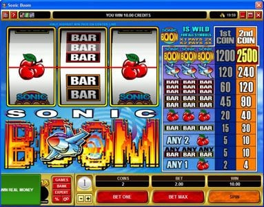 Gala featuring the Video Slots Sonic Boom with a maximum payout of $25,000
