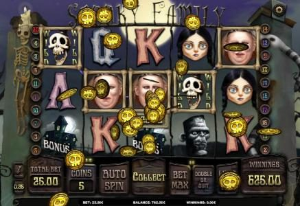 Llama Casino featuring the Video Slots Spooky Family with a maximum payout of $250.000