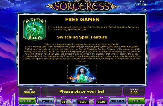 Sorceress :: Scatter Symbol Rules