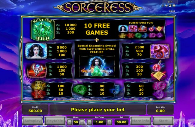 Sorceress :: Paytable