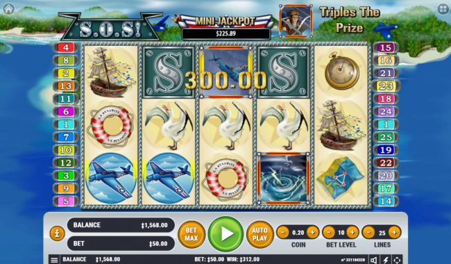 Spin Hill featuring the Video Slots S.O.S. with a maximum payout of $2,500,000