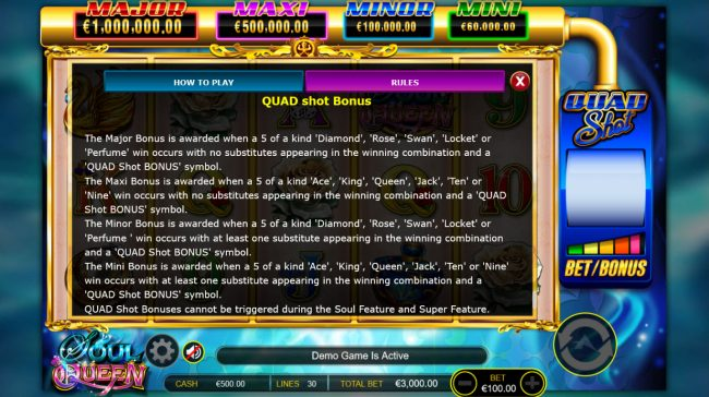 Red Queen featuring the Video Slots Soul Queen Quad Shot with a maximum payout of $300,000