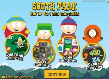 Free Spins featuring the Video Slots South Park with a maximum payout of $750