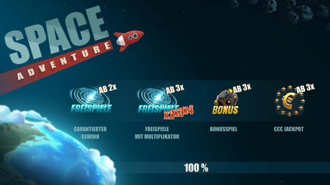 Space Adventure :: Game features include: Free Spins, Free Spin Multipliers, Bonus and Euro Jackpot