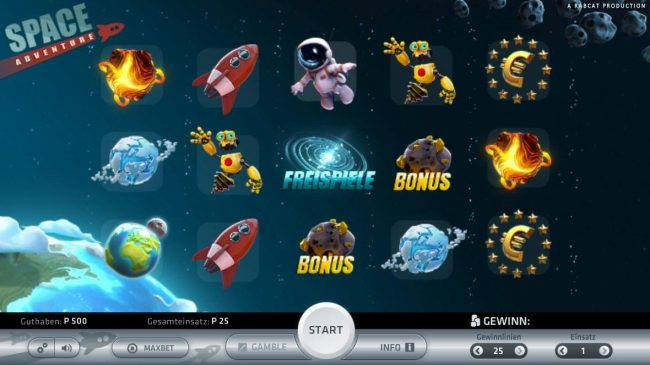 Space Adventure :: Main game board featuring five reels and 25 paylines with a $5,000 max payout.