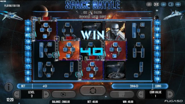 NordiCasino featuring the Video Slots Space Battle with a maximum payout of $125,000