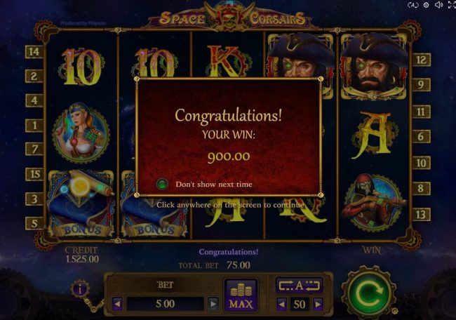 Split Aces featuring the Video Slots Space Corsairs with a maximum payout of $10,000