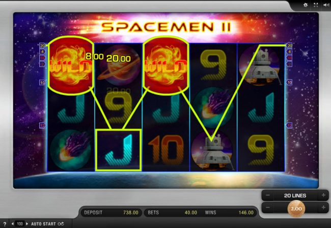 Slots Million featuring the Video Slots Space-Men II with a maximum payout of $20,000