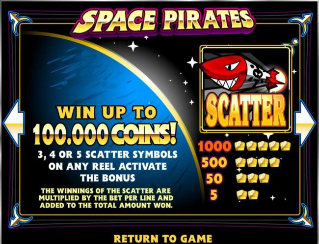 Tangiers featuring the Video Slots Space Pirates with a maximum payout of $125,000