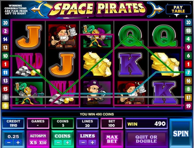 Play slots at Oshi: Oshi featuring the Video Slots Space Pirates with a maximum payout of $125,000