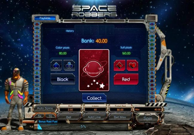 1BET featuring the Video Slots Space Robbers with a maximum payout of $3,000