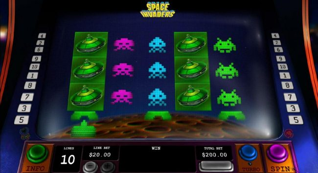 Windows featuring the Video Slots Space Invaders with a maximum payout of $3,000