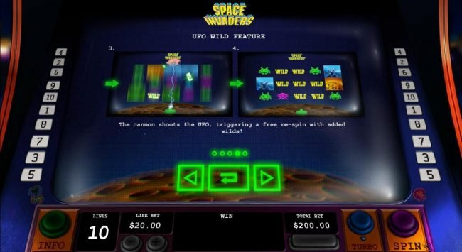 The Cannon shoots the UFO, triggering a free re-spin with added wilds.