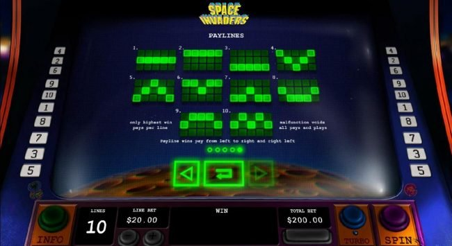 LesA Casino featuring the Video Slots Space Invaders with a maximum payout of $3,000