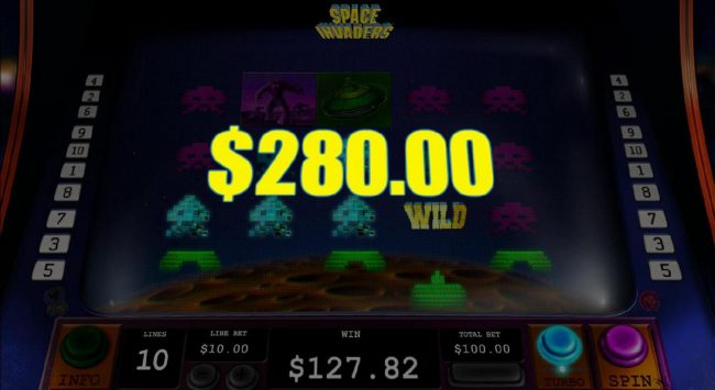 Invader Turn Wild feature triggers a 280.00 big win!