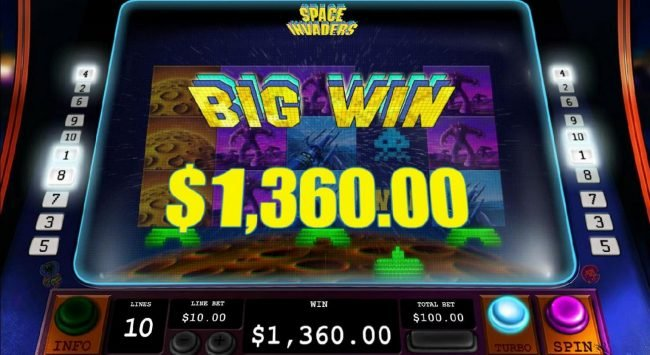 Multiple winning paylines triggers a 1,360.00 big win!