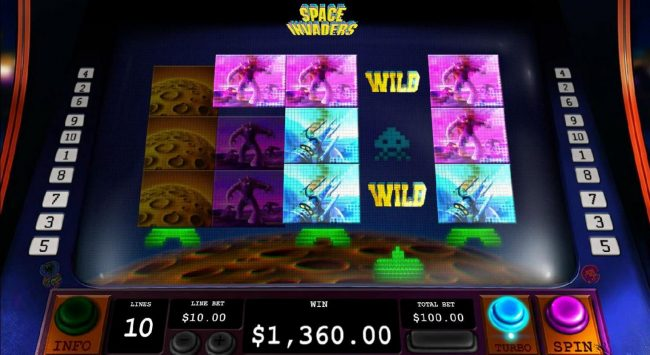 Play slots at Mr Play: Mr Play featuring the Video Slots Space Invaders with a maximum payout of $3,000