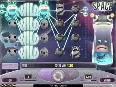 Videoslots featuring the Video Slots Space Wars with a maximum payout of $5,000