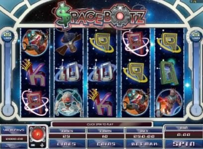Play slots at Jackpot Joy: Jackpot Joy featuring the Video Slots Spacebotz with a maximum payout of $10,000