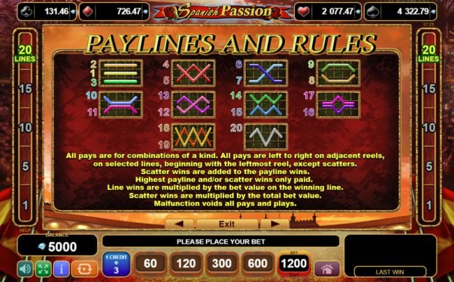 Casinia featuring the Video Slots Spanish Passion with a maximum payout of $60,000