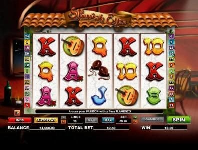 Jackpot Mobile featuring the Video Slots Spanish Eyes with a maximum payout of $20,000