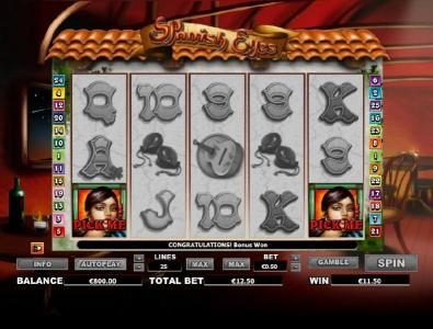 Euro King featuring the Video Slots Spanish Eyes with a maximum payout of $20,000