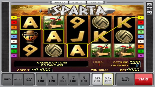 Play slots at Energy: Energy featuring the Video Slots Sparta with a maximum payout of $81,000