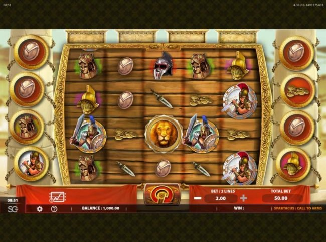 Spartacus Call to Arms :: Main game board featuring five reels and 50 paylines with a $250,000 max payout.