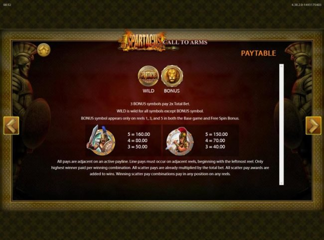 Spartacus Call to Arms :: High value slot game symbols paytable.