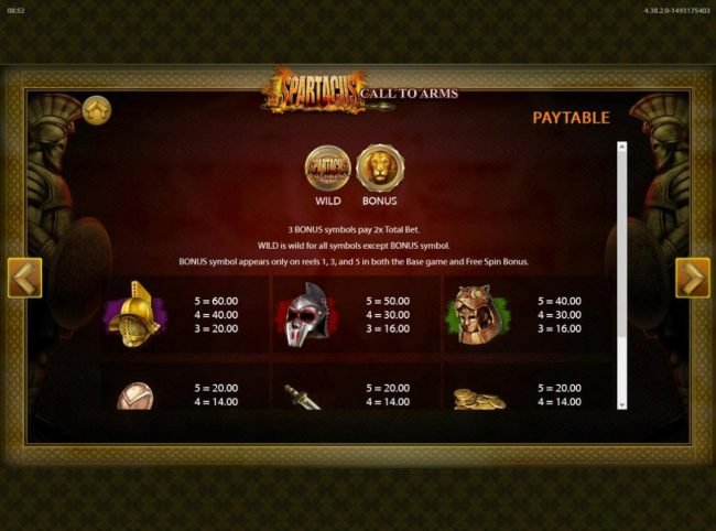 Spartacus Call to Arms :: Low value game symbols paytable.