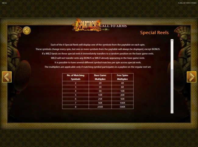 Spartacus Call to Arms :: Special Reels Rules and Pays