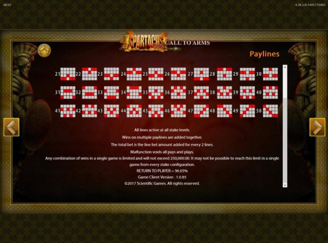 Spartacus Call to Arms :: General Game Rules - The theoretical average return to player (RTP) is 96.05%.