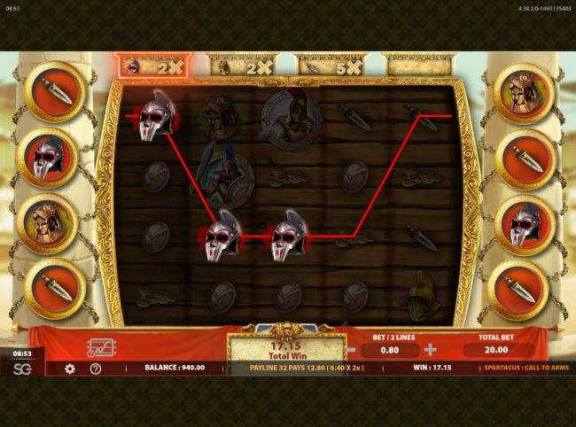 Spartacus Call to Arms :: Winning symbols on the reels may correspond to the multipliers locted above the reels. This can trigger an addtional winning amount then would normally be available.