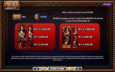 Spartacus Gladiator Of Rome :: Slot game symbols paytable. Each reel contains a number of adjacent positions that, before the reel spin initiates, are randomly replaced with a symbol from the paytable except feature. Only highest winner paid per winning combination. Paytable reflects c