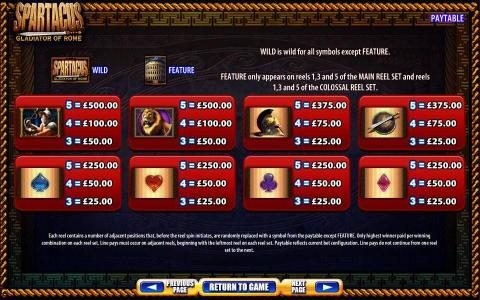 Spartacus Gladiator Of Rome :: Slot game symbols paytable continued. Each reel contains a number of adjacent positions that, before the reel spin initiates, are randomly replaced with a symbol from the paytable except feature. Only highest winner paid per winning combination. Paytable